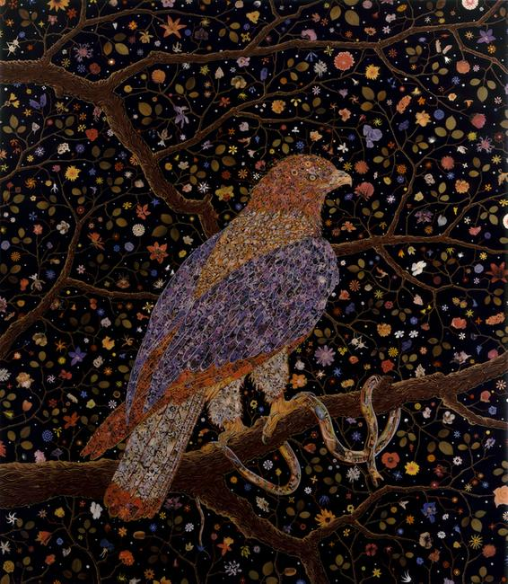 Fred Tomaselli , Avian Flower Serpent