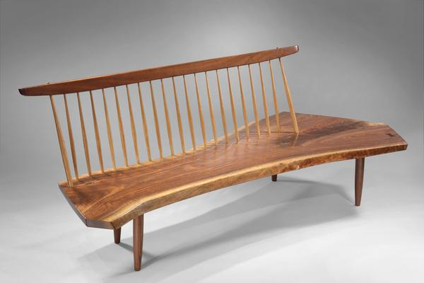 "George Nakashima, Conoid Bench, 1976, American black walnut, 36 x 24 x 87"".  photo: Michael J.  Joniec.  Represented by Moderne Gallery, Philadelphia, PA ."