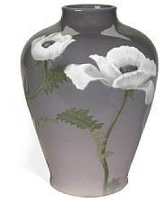 A large Rookwood iris glazed earthenware Poppy vase decorator Carl Schmidt, 1903.  Estimate: $20,000 - 30,000