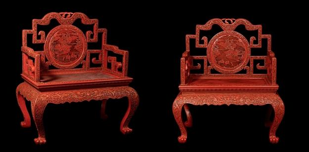 A pair of red cinnabar lacquer thrones, Qing dynasty, 18th to 19th century.  Courtesy of Asiantiques.