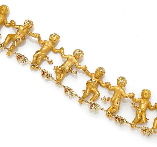 A diamond, gem-set and 18k gold cherub bracelet by Carrera y Carrera sold for $11,590 on March 22 at Bonhams San Francisco jewelry auction.