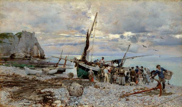The Return of the Fishing Boats, Étretat, 1879, by Giovanni Boldini Oil on panel, 5 1/2 x 9 1/2 in.  (14 x 24 cm) Sterling and Francine Clark Art Institute, Williamstown, Massachusetts (photo by Michael Agee)