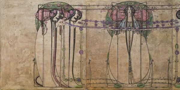 Margaret Macdonald Mackintosh, The May Queen, Panel for the Ladies' Luncheon Room, Ingram Street Tearooms, Glasgow, 1900.  Gesso, hessian, scrim, twine, glass beads, thread, mother-of-pearl, tin leaf.