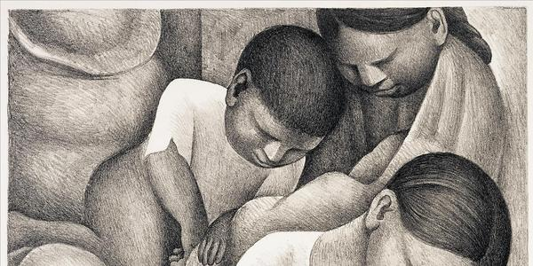 Diego Rivera, Mexican, 1886 - 1957, Sleep, 1932.  Lithograph.  McNay Museum purchase with funds from the Cullen Foundation, the Friends of the McNay, Charles Butt, Margaret Pace Willson, and Jane and Arthur Stieren.  © Banco de México Diego Rivera Frida Kahlo Museums Trust, México, D.F.  / Artists Rights Society (ARS), New York