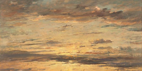 """For social media's #MuseumSunshine, the National Gallery of Art, Washington, DC, shared this work by Hendrik Willem Mesdag, """"Sunset at Scheveningen: A Fleet of Fishing Vessels at Anchor,"""" 1894, oil on canvas."""