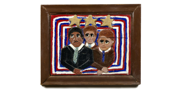 """At The Barnes Foundation is """"Elijah Pierce's America."""" Elijah Pierce (American, 1892–1984) Martin Luther King Jr.  and the Kennedy Brothers 1977 Paint and glitter on carved wood 21 1/4 × 26 1/4 × 1 1/2 in.  (54 × 66.7 × 3.8 cm) Columbus Museum of Art, Ohio."""