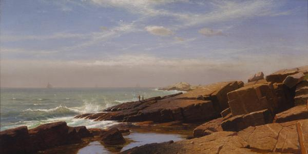 William Stanley Haseltine, Rocks at Nahant, 1864, oil on canvas, 22 3/8 x 40 1/2in.  (56.8 x 102.9cm), Terra Foundation for American Art, Daniel J.  Terra Collection, 1999.65