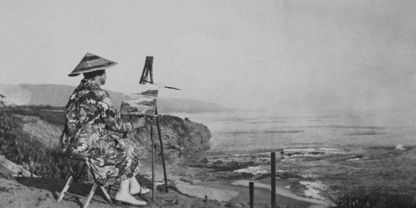Nellie Gail Moulton, circa 1920, photographed at Three Arch Bay, California.
