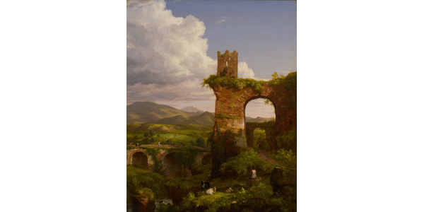 """""""The Arch of Nero,"""" 1846, by Thomas Cole (1801-1848).  Oil on canvas, 60 ¼ x 48 /4 inches.  To be displayed at the Philadelphia Museum of Art, this work from the Newark Museum of Art was acquired by the Jacobsen Foundation for $988,000 at Sotheby's in May 2021.  Image courtesy the Thomas H.  and Diane DeMell Jacobsen PhD Foundation."""