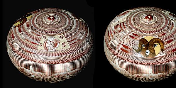 Wallace Nez (United States, 1972- ), Seed Pot, c.  1999, polychrome sgraffito, 3 x 4 in.