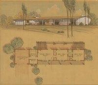 Floor Plan And Perspective Cliff May San Go Ranch House 1950s