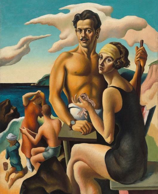 Self-Portrait with Rita, by Thomas Hart Benton.  Oil on canvas (c.  1924).  National Portrait Gallery, Smithsonian Institution.  Gift of Mr.  and Mrs.  Jack H.  Mooney