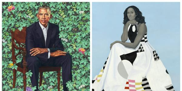 Barack Obama by Kehinde Wiley, oil on canvas, 2018, and Michelle LaVaughn Robinson Obama by Amy Sherald, oil on linen, 2018.  National Portrait Gallery, Smithsonian Institution.