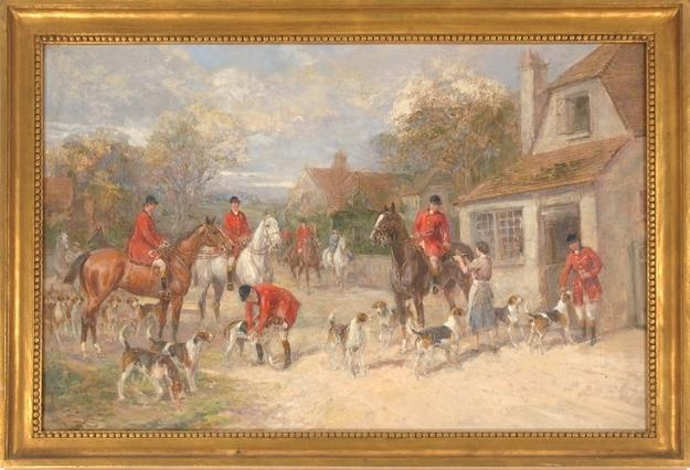 Heywood Hardy (British, 1842-1933) A Hunting Morning, Oil on Canvas.  Est.  $15,000 - 20,000.