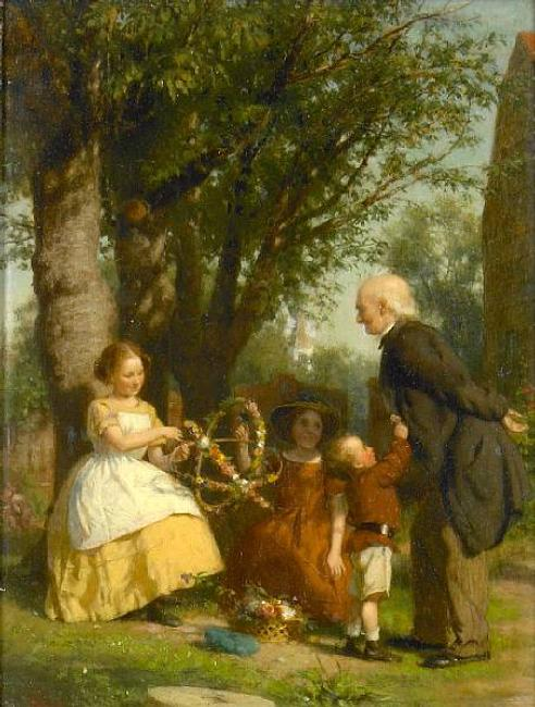 Seymour Joseph Guy (American, 1824-1910) The garland makers.  Oil on panel, 13 1/4 x 10 1/4in.  Estimate: $3,000 - 5,000