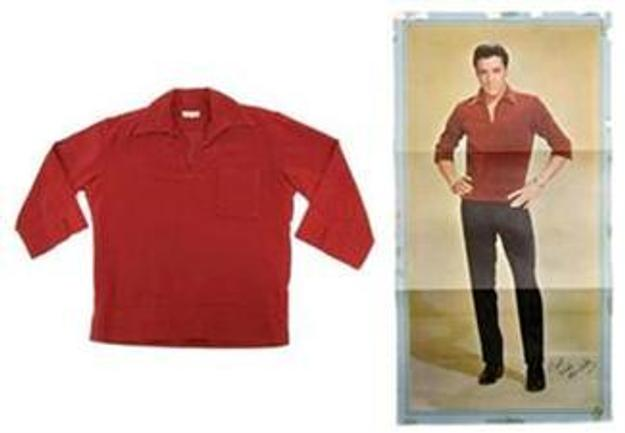 A red Ultrasuede shirt worn by Presley in a 1963 photo shoot sold for $34,000