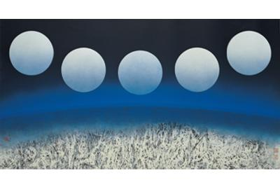 Liu Kuo-sung (b.  1932) Full Moon (E), 2008.  Ink and color on paper 39.17 x 72.56 in (99.5 x 184.3 cm)