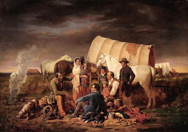 William Tylee Ranney (American, 1813–1857) Advice on the Prairie, ca.  1853 Oil on canvas; 38 3/4 x 55 1/4 in.  (98.4 x 140.3 cm) Buffalo Bill Historical Center, Cody, Wyoming, Gift of Mrs.  J.  Maxwell Moran (10.91)