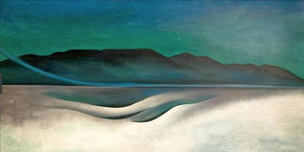 "Georgia O'Keeffe, ""Lake George,"" 1924, oil on canvas, 18 1/8 x 35 1/8 inches.  Bequest of James R.  and Barbara R.  Palmer.  IMAGE: © 2019 GEORGIA O'KEEFFE MUSEUM / ARTIST RIGHTS SOCIETY (ARS), NEW YORK"
