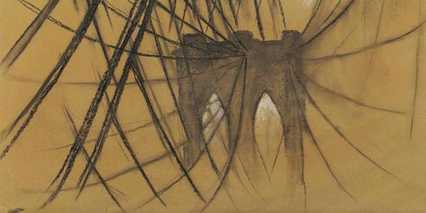 "Georgia O'Keeffe (1887–1986), Study for ""Brooklyn Bridge"", 1949.  Charcoal and black chalk on paper; 39 7/8 x 29 1/2 in.  New-York Historical Society, Promised Gift of Elie and Sarah Hirschfeld Collection, Scenes of New York City.  © 2020 Georgia O'Keeffe Museum / Artists Rights Society (ARS), New York"