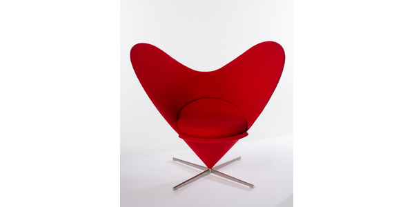 Verner Panton (Danish, 1926-1998), Heart Cone chair, 1958, fabric, foam, and metal, 35 x 38 ½ x 28 ¼ inches.  Promised gift of Donna J.  and Cargill MacMillan, Jr., L2008-60.  Photograph by Sherrill & Associates, Inc.