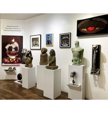Installation view with Walter Dahn / George Condo Clown and stone sculpture.