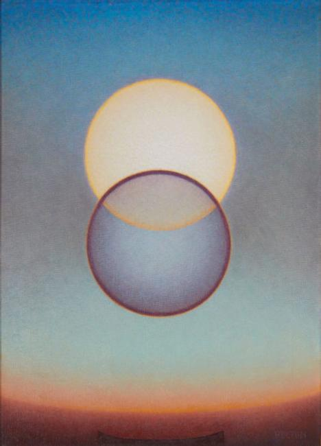 Agnes Pelton, Departure, 1952.  Oil on canvas, 24 × 18 in.  (61 × 45.7 cm).  Collection of Mike Stoller and Corky Hale Stoller.  Photograph by Paul Salveson
