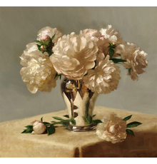 """Sarah Lamb, """"Peonies in Silver,"""" Oil on linen, 23 x 24 in"""