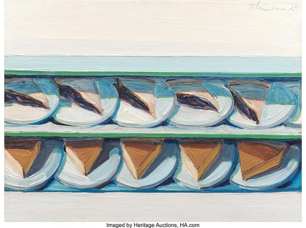 Wayne Thiebaud's Blueberry Custard, 1961 sold for $3,225,000 in Heritage Auctions' Modern & Contemporary Art Auction.