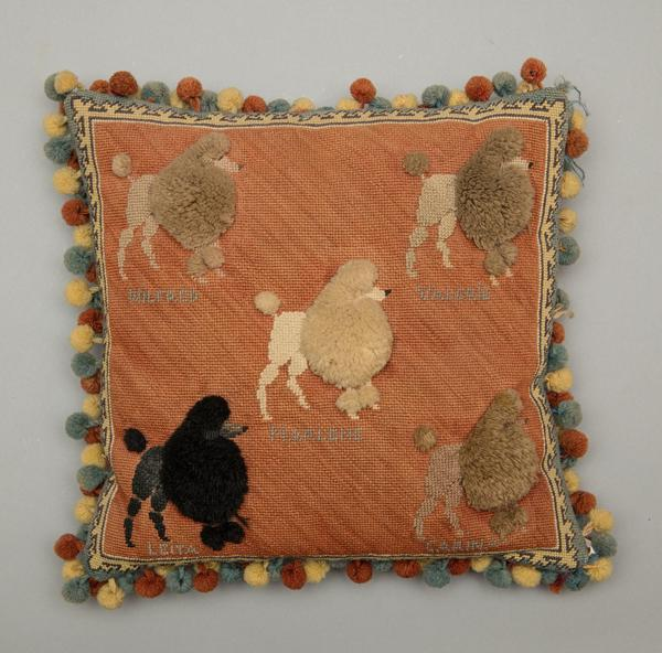 Attributed to Adaline Havemeyer Frelinghuysen, Poodle Throw Pillow, date unknown.  Wool, 15 x 15 x 5 in.  Photography by Andy Duback.