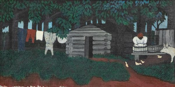"""Horace Pippin, """"The Wash"""" (c.  1942), oil on canvas , 13 1/2 x 17 1/2 in.  (Gift of Richard and Laura Parsons, 2021)"""