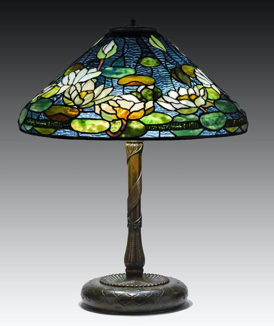 Rare Tiffany Studios, New York Pond Lily Table Lamp.  Ht.  26 in.  Shade Dia 20 1/2 in.  Est.  $60,000-$80,000