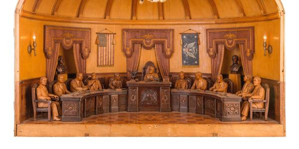 Moise Potvin (1876-1948), President Franklin D.  Roosevelt and cabinet members..., ca.  1935, carved wood and lightbulbs, High Museum of Art, Atlanta, gift from the Levine Folk Art Collection, 2020.129