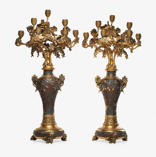 Lot 216: Christofle Impressive Pair of Candelabra $30,000 - 50,000