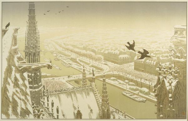 Henri Rivière French, 1864 - 1951.  Du Haut des Tours Notre - Dame (From the Tower of Notre - Dame) from Les Paysages Parisiens, 1900.  Lithograph.  Gift of the Friends of the McNay 2001.19.7