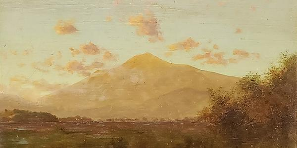 Theodore Robinson (1852–1896) Mt.  Tamalpais from Greenbrae, Marin County, 1897, oil on panel.  Private Collection.