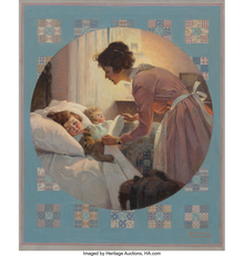 May sale: Norman Rockwell's Mother Tucking Children into Bed (Mother's Little Angels) Literary Digest cover, January 29, 1921 (estimate: $1,800,000-2,400,000).