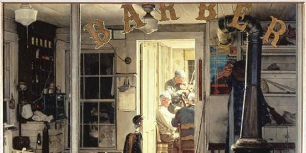 Norman Rockwell (1894-1978), Shuffleton's Barbershop, 1950.  Oil on canvas, 33 x 31 in.  Cover illustration for The Saturday Evening Post, April 29, 1950.  Collection of Lucas Museum of Narrative Art.  ©SEPS: Licensed by Curtis Licensing, Indianapolis, IN