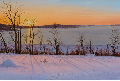 "Sergio Roffo (1953-), ""A Winter's Glow"", oil on canvas, 24"" x 36"""