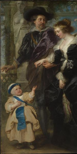 Peter Paul Rubens (Flemish, 1577–1640).  Rubens, His Wife Helena Fourment (1614–1673), and Their Son Frans (1633–1678), ca.  1635.  Oil on wood, 80 1/4 x 62 1/4 in.  (203.8 x 158.1 cm).  The Metropolitan Museum of Art, New York, Gift of Mr.  and Mrs.  Charles Wrightsman, in honor of Sir John Pope-Hennessy, 1981 (1981.238)