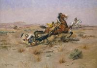 "Charles Russell ""Incident Near Square Butte"" at the Stark Museum of Art."