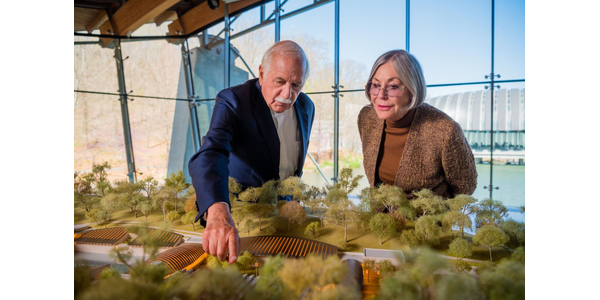 Moshe Safdie, Founder Safdie Architects, and Alice Walton, Crystal Bridges Founder and Board chairperson, in the Great Hall at Crystal Bridges Museum of American Art in Bentonville, Arkansas.  Photos by Stephen Ironside.