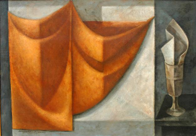 Bentley Schaad, Curtain and Cup, 1950s, oil on canvas, 25 x 36 inches