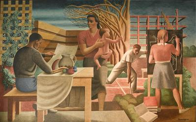 """Security of the Family,"" WPA mural for the Health and Human Services Building, Washington D.C., by Seymour Fogel, an apprentice to Diego Rivera on his Rockefeller Center mural."