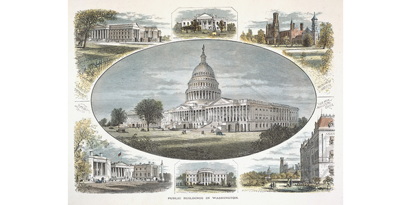 """Public Buildings in Washington,"" by John Filmer, after William Hamilton Gibson.  ""Picturesque America."" Steel engraving, hand-colored, 1872."