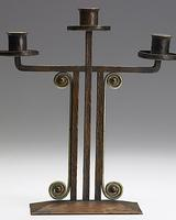 DARD HUNTER, ROYCROFT, Exceptional hammered copper and silver candelabrum, 1906-08.  Orb and Cross mark.  Est.  $20,000 - $30,000