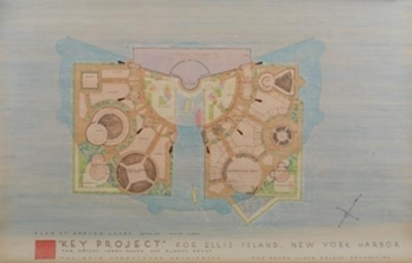 From a complete set of eight architectural renderings depicting Frank Lloyd Wright's Key Project for Ellis Island, New York (1959).