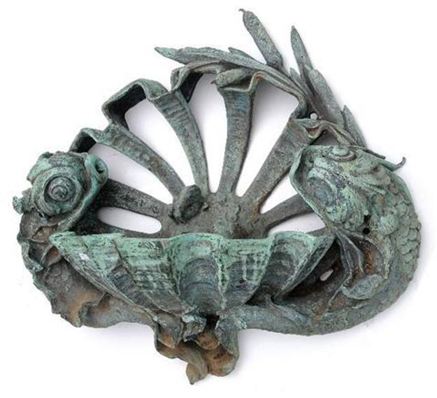 Lot 100 : A Rococo Revival Bronze Wall Mounted Fountain, 20th Century, with stylized dolphin shell and frog motif.  h:35 w:34 d:13.75 in.  Estimate $ 3,000-5,000