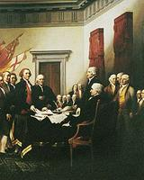 Trumbull's painting of the signing of the Declaration of Independence (detail)
