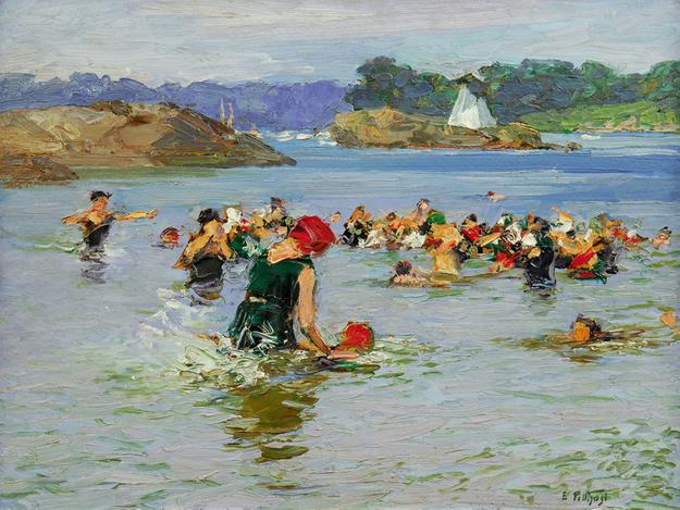 Edward H.  Potthast (1857 – 1927) The Swimming Lesson, circa 1915 .  Oil on panel, 12 x 16 inches.  Courtesy of Gerold Wunderlich & Co